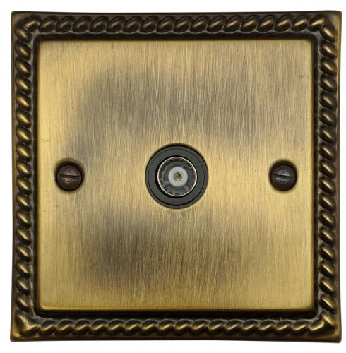 G&H MAB35B Monarch Roped Antique Bronze 1 Gang TV Coax Socket Point